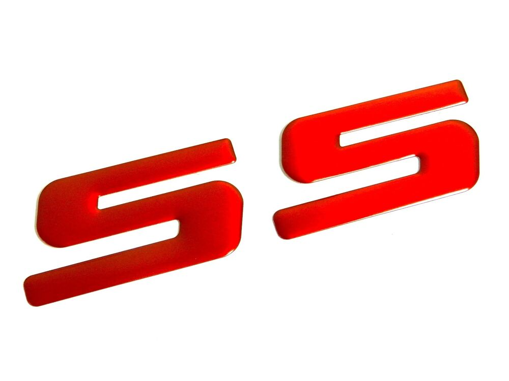 2 LARGE RED SS EMBLEM BADGE DECAL FOR CHEVROLET CHEVY ...