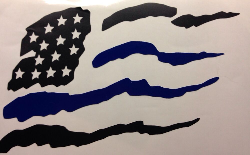 Thin Blue Line American Flag Usa Police Leo Sheriff Car