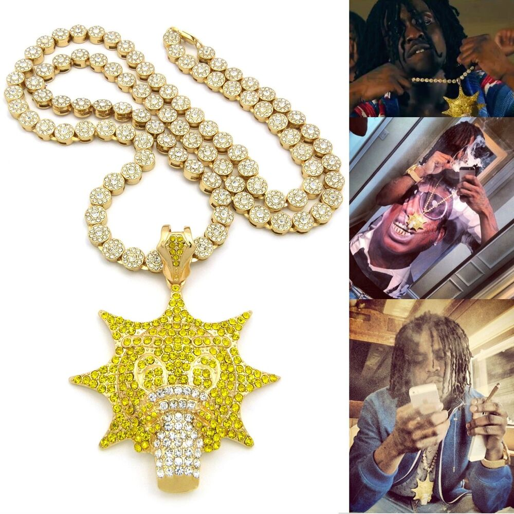 Iced Out Gold Plated Chief Keef Glo Gang Pendant W 36