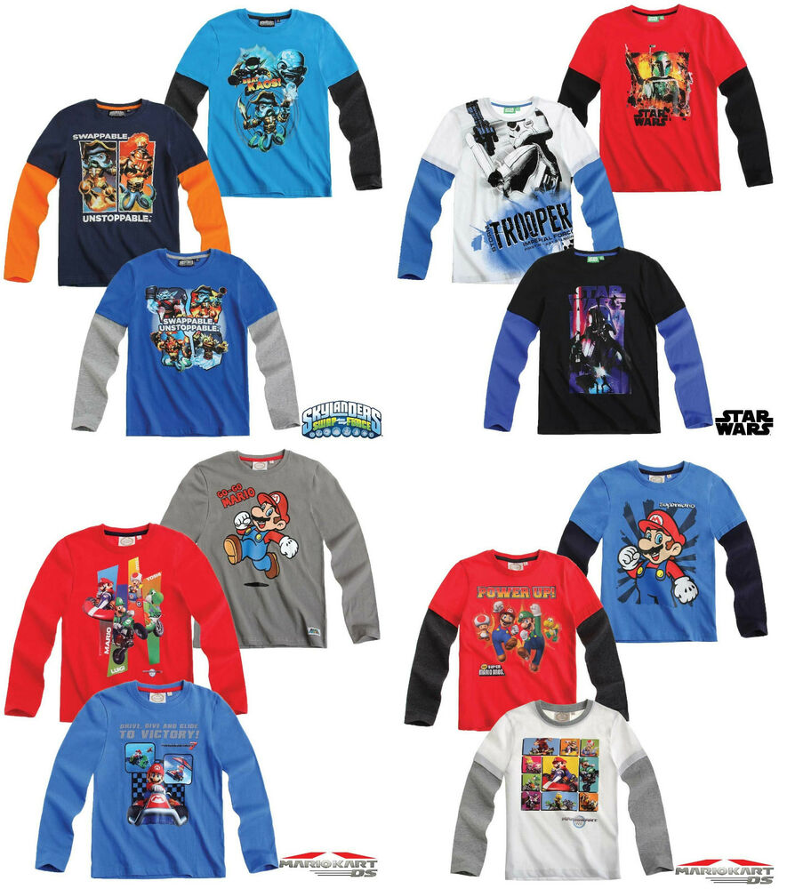 T Shirts Cartoon Characters : Boys star wars skylanders super mario cartoon character