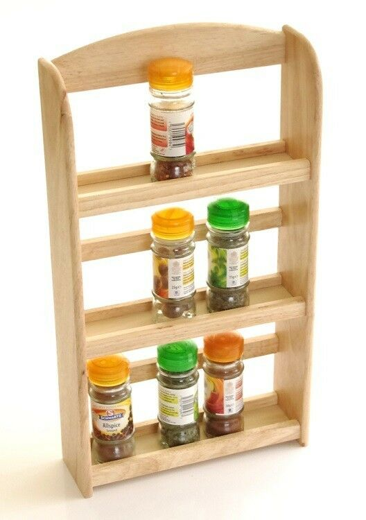 New 3 Tier Hevea Wood Wooden Herb Spice Rack Jar Holder