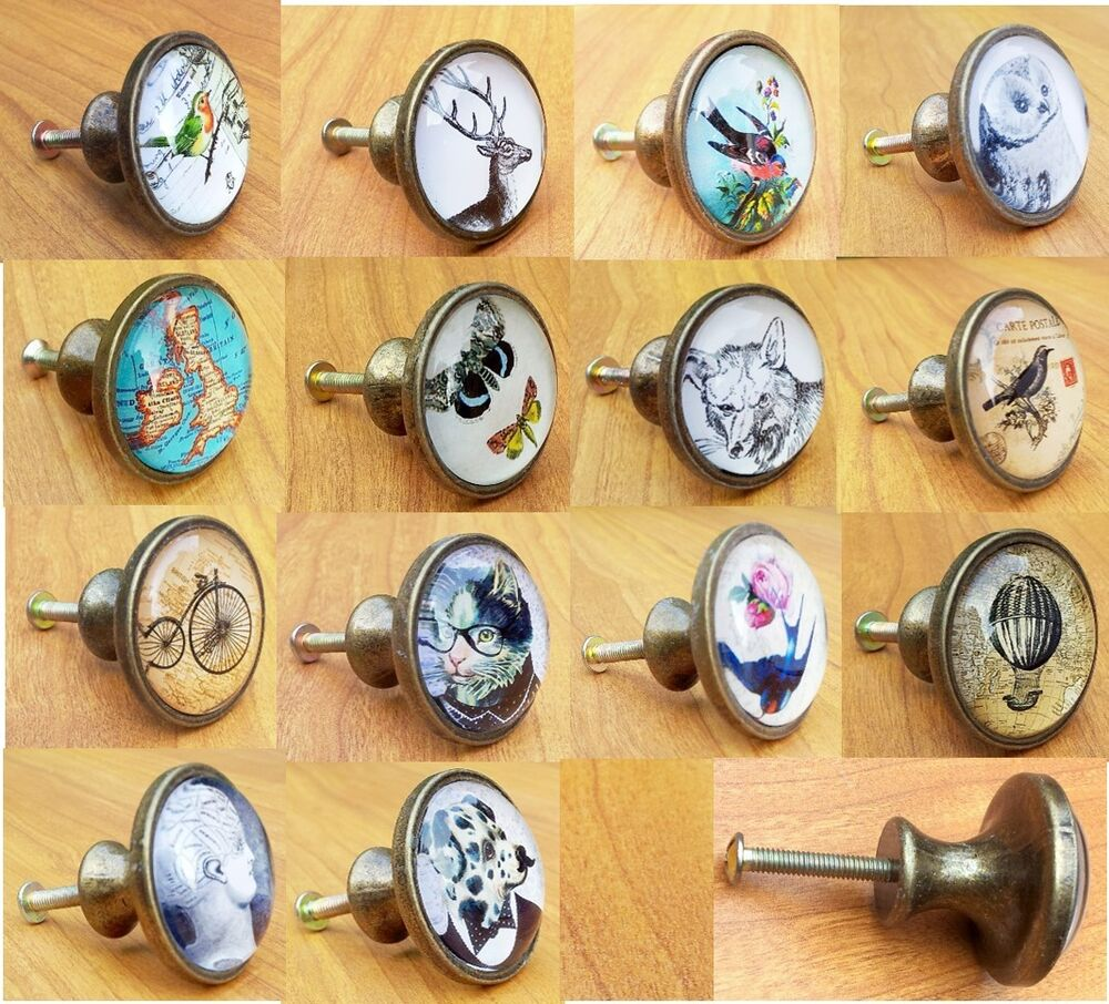 vintage style glass metal knobs door drawer cabinet handles pull knob brass ty ebay. Black Bedroom Furniture Sets. Home Design Ideas