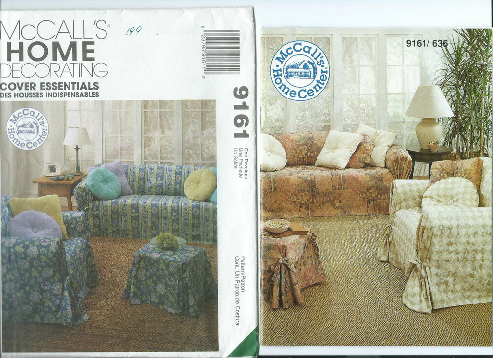 M 9161 Sewing Pattern Slipcovers Sofa Chair Ottoman