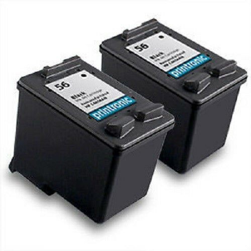 recycled hp 56 ink cartridge c6656an psc 110 1209 1210 1310 1311 1312 2 pack ebay. Black Bedroom Furniture Sets. Home Design Ideas