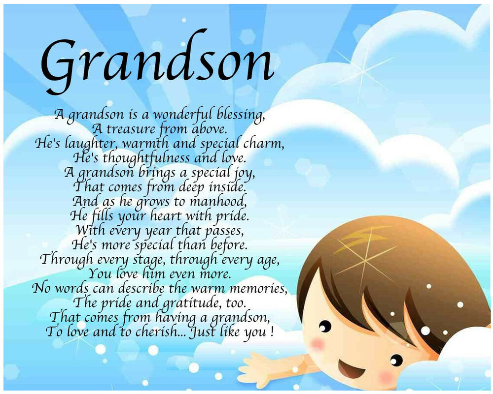 Personalised Grandson Poem Birthday Christmas Christening ...