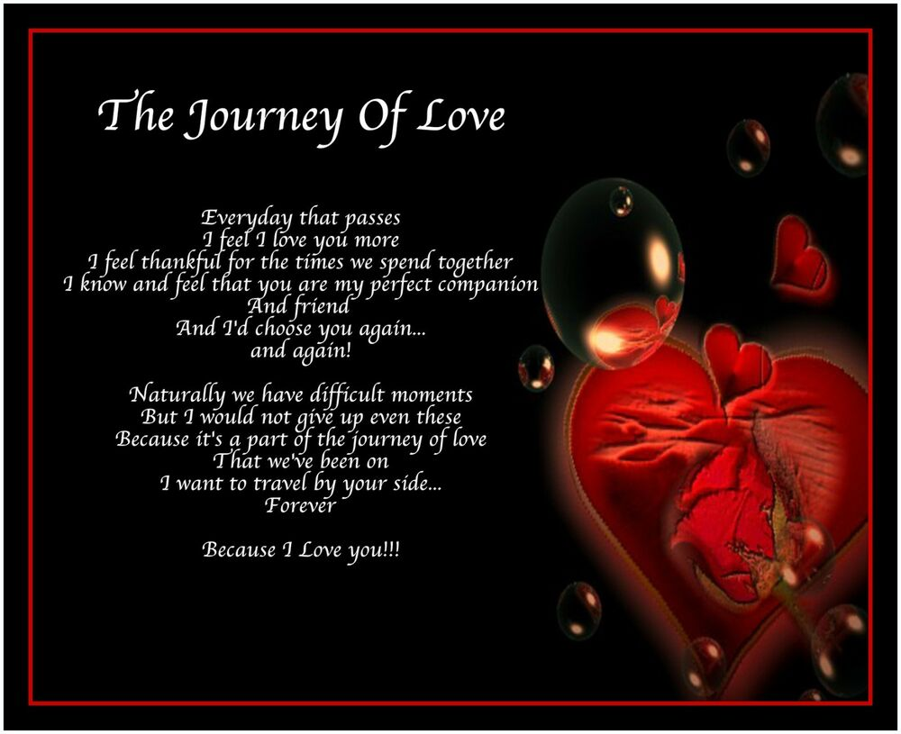 romantic valentines day quotes for her - Personalised Journey Love Poem Birthday Valentines Day