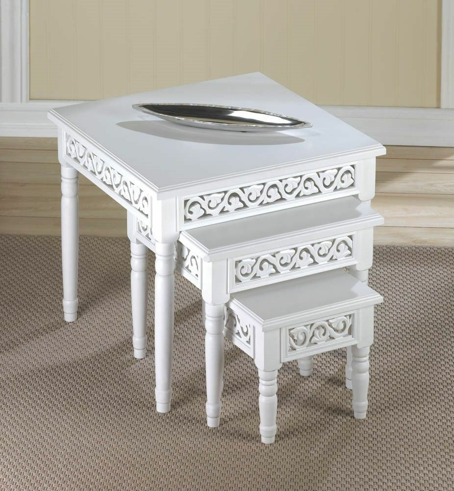 3 pc floret chic shabby white nesting end accent side for White end table