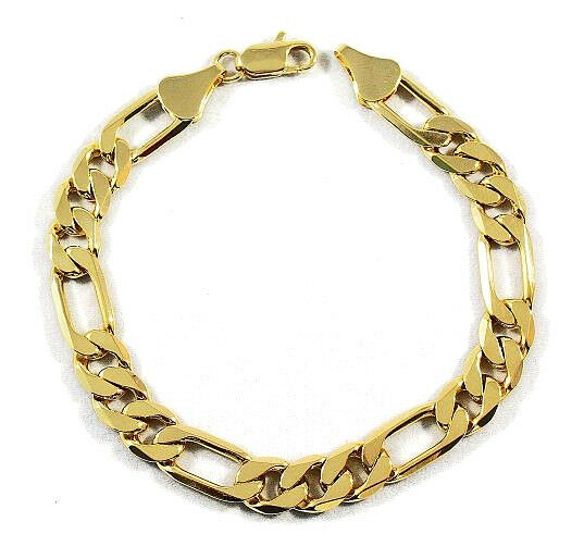 mens 10mm 14k gold plated premium quality figaro link