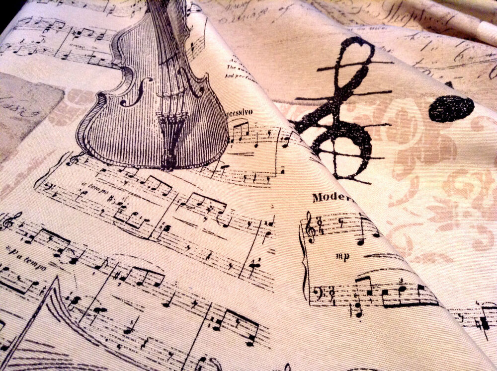 Music notes designer curtain upholstery cotton fabric for Tessuto note musicali ikea