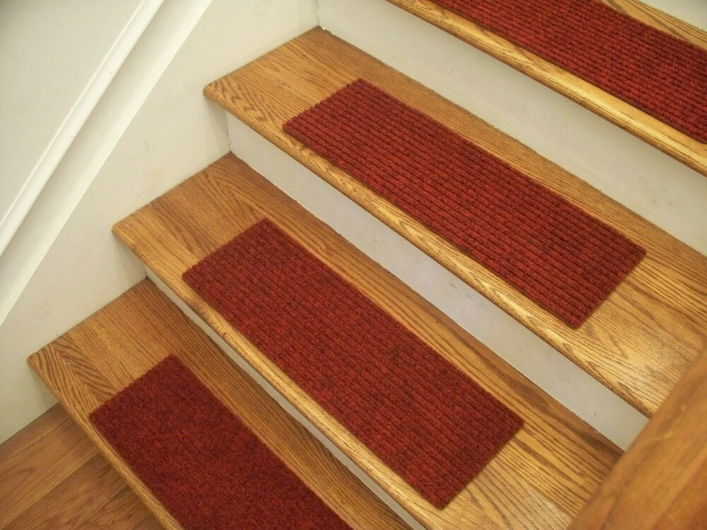 Premium Carpet Stair Tread Sets Rugged Red 24 Quot X 8 Quot Ebay