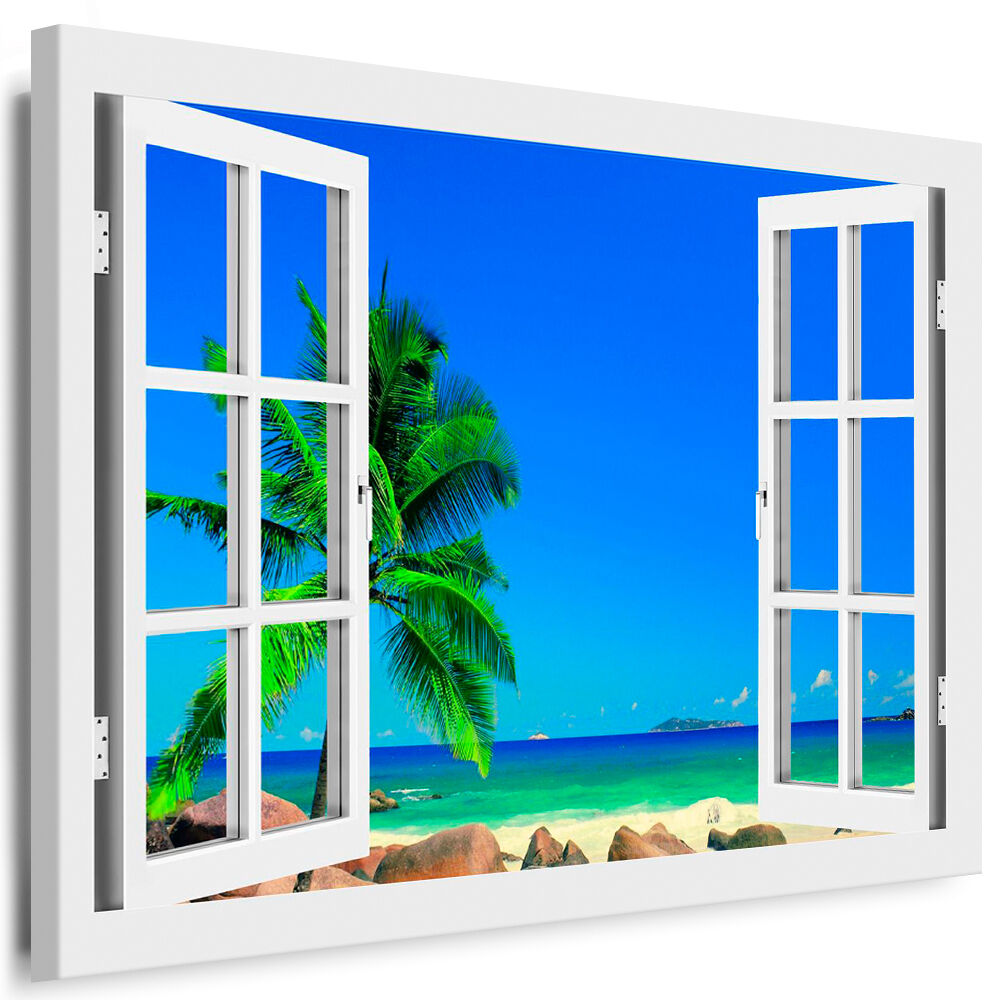 bild leinwand fenster bilder palme strand meer kunstdrucke kein poster ebay. Black Bedroom Furniture Sets. Home Design Ideas