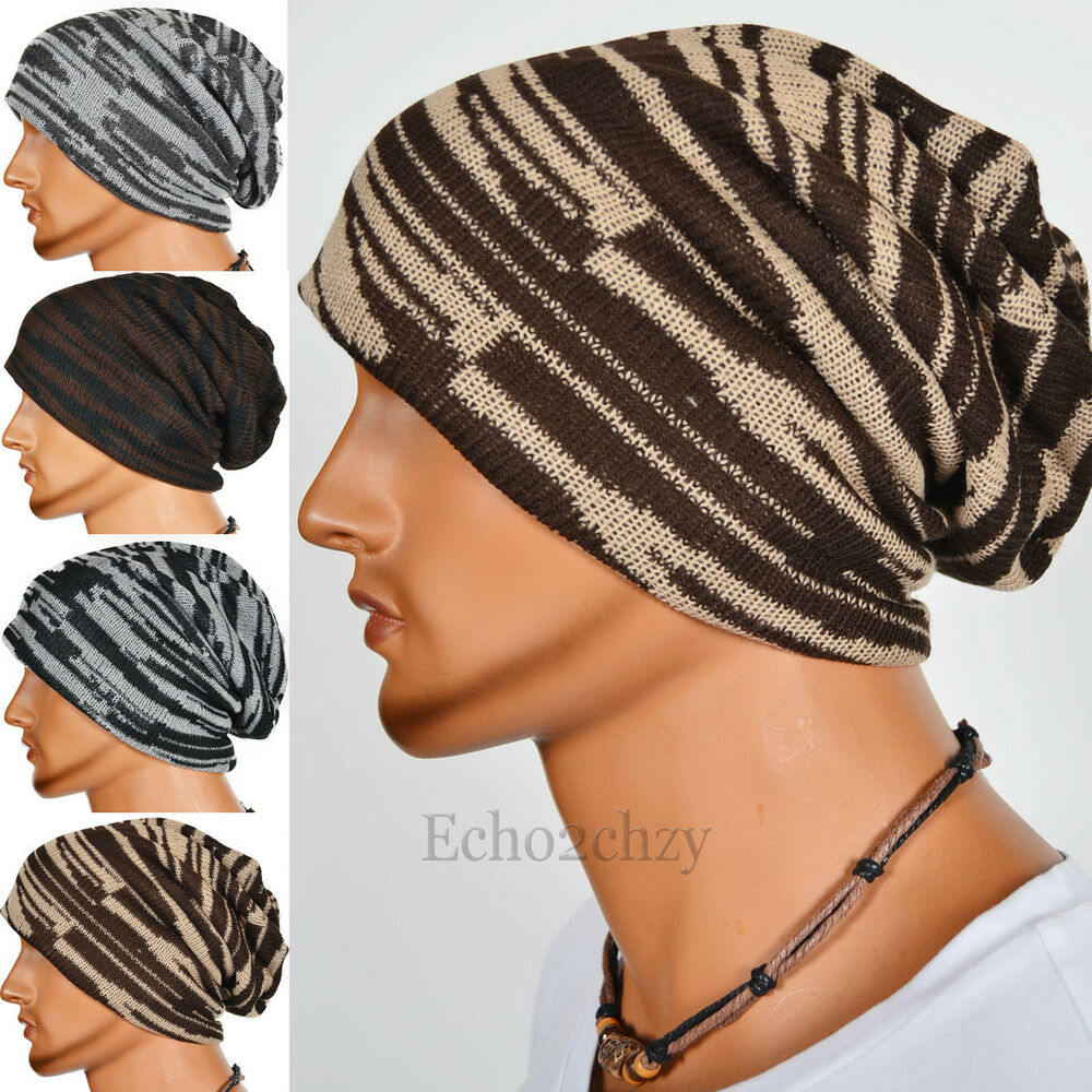 Knitting Pattern For Loose Beanie : Chic Men Stripe Knit Loose Beanie Slouch Cap Hat for ...