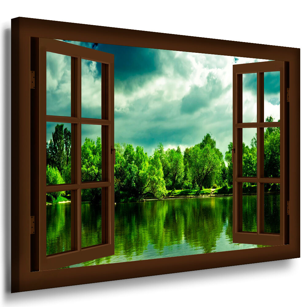 bild leinwand fenster n92 bilder natur wald b ume see kunstdrucke kein poster ebay. Black Bedroom Furniture Sets. Home Design Ideas