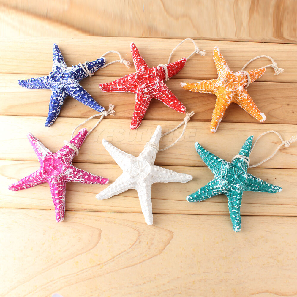 Resin Hanging Starfish Tropical Ornament Beach Ocean Sea