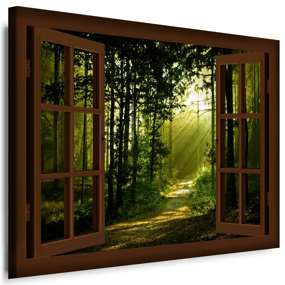 leinwand bild fenster n171 bilder wald sonne kunstdrucke wandbilder kein poster ebay. Black Bedroom Furniture Sets. Home Design Ideas