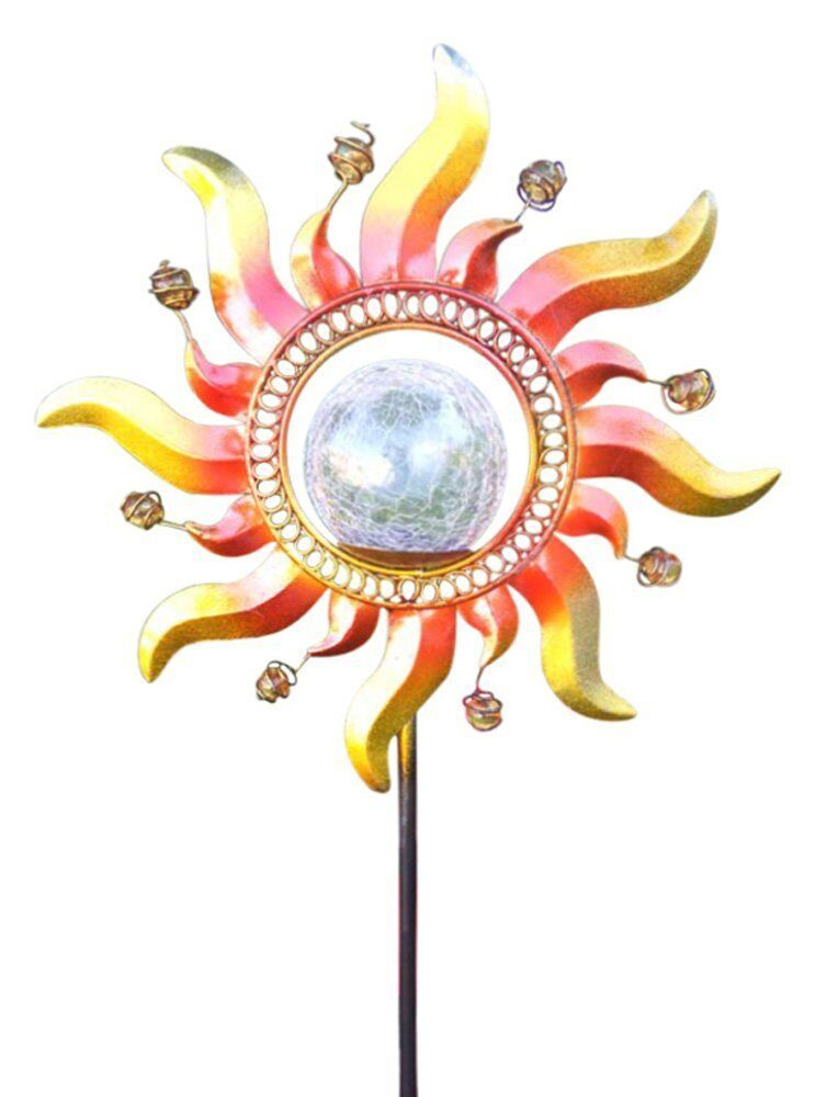 Solar Powered Metal Sun Ray Glass Crackle Ball Garden Stake Color Change Light Ebay