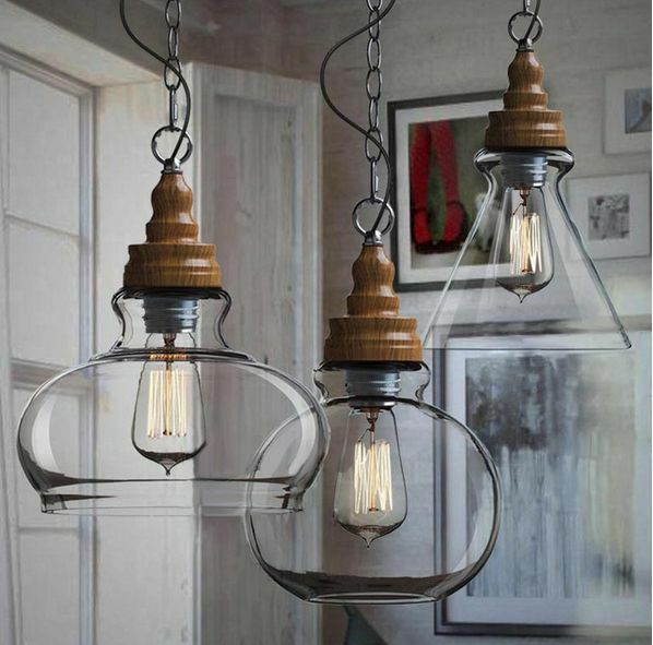 Wooden pattern diy ceiling lamp light glass pendant for Diy edison light fixtures