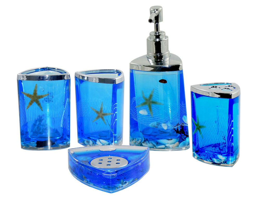 fashion bathroom 5 piece ocean starfish shell design bath accessory set ebay. Black Bedroom Furniture Sets. Home Design Ideas