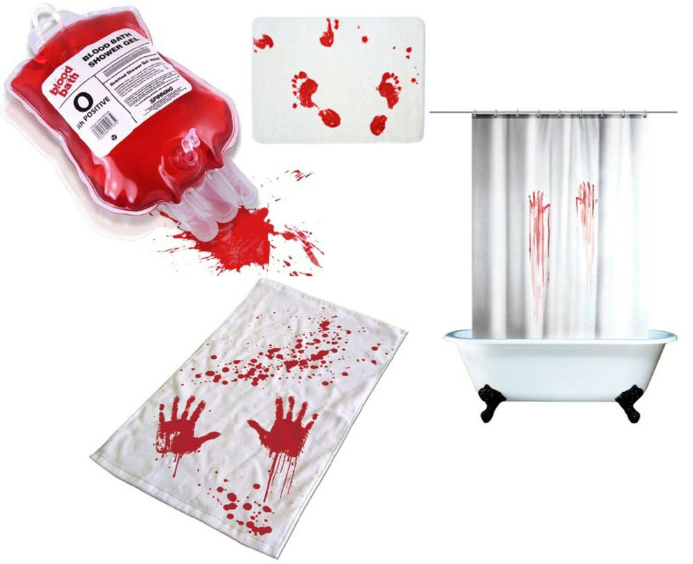 blood bath set shower gel towel mat curtain bloody horror bloody bathroom accessories these pieces turn your shower
