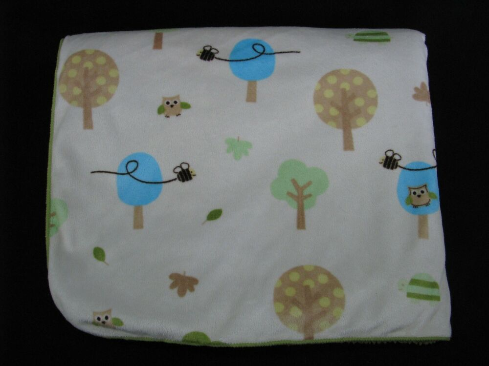 Circo Owl Tree Nature Baby Blanket Green Sherpa Security