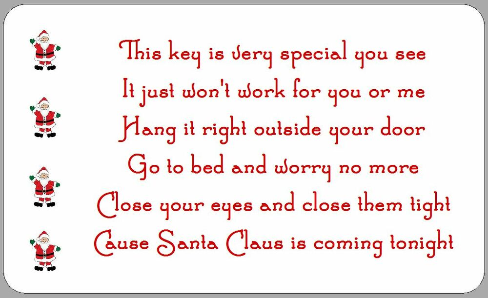 21 SANTA'S MAGIC KEY POEM STICKERS CHRISTMAS LABELS HANDMADE XMAS ...