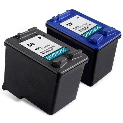 2pk hp 56 57 ink cartridge c6656an c6657an photosmart 7760 7550 7960 printer ebay. Black Bedroom Furniture Sets. Home Design Ideas