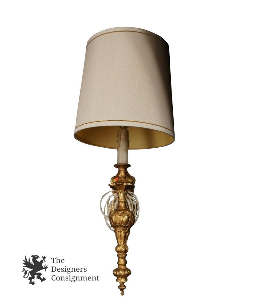 Decorative Wall Lamp Shades : Decorative Gilded Wall Sconce Hanging Accent Lamp Light Fixture w/ Shade eBay