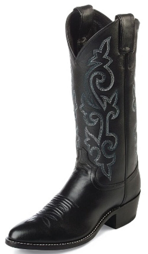 Mens Black Leather Dress Western Cowboy Boots By Justin