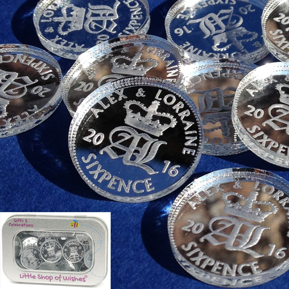 Lucky sixpence personalised bridal wedding favours and for Wedding table favours