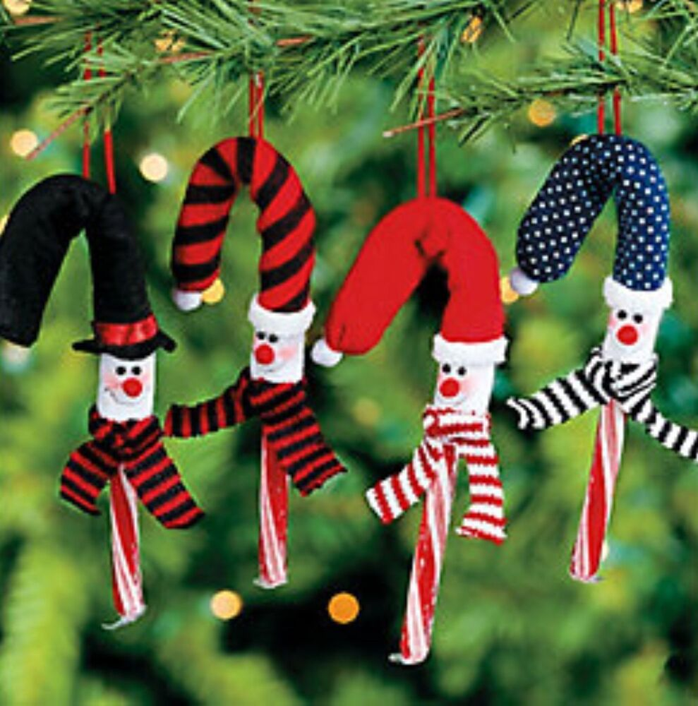 Snowman candy cane covers tree ornaments christmas