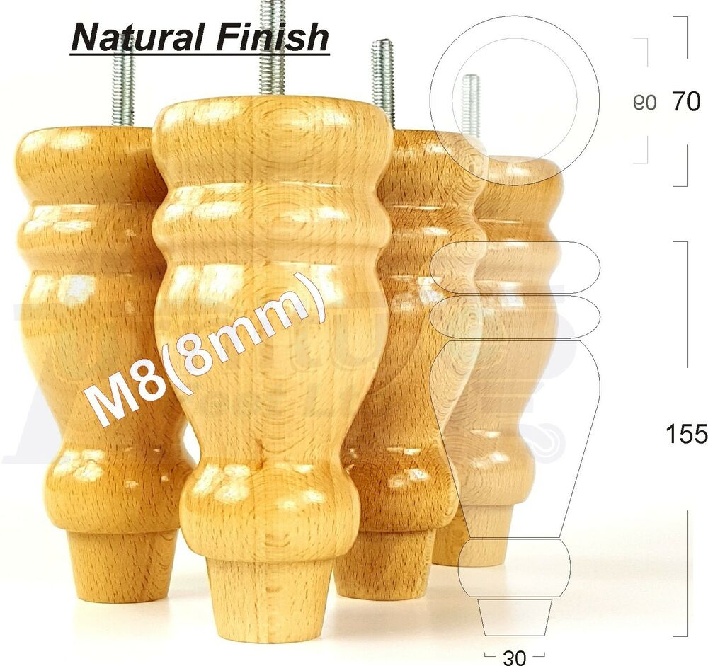 4x Wooden Turned Feet Furniture Legs For Sofas Chairs Stools Cabinets Beds M8 Ebay