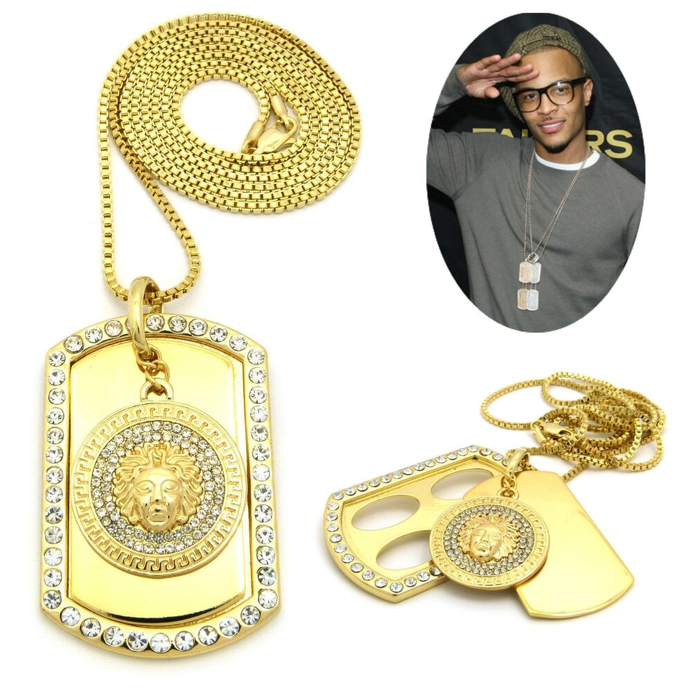 Mens New Iced Out Hip Hop Gold Medallion Dog Tag Pendant
