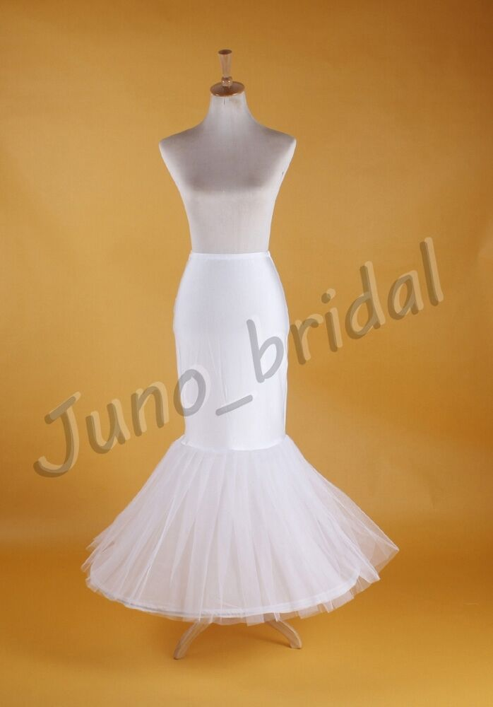 Wedding bridal mermaid white prom dress petticoat for Mermaid slip for wedding dress