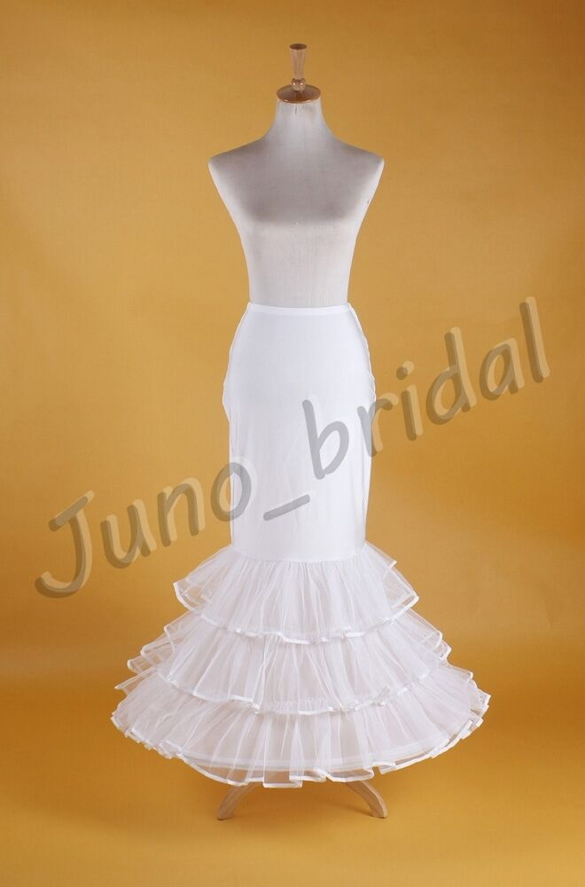 Wedding trumpet mermaid white prom dress petticoat for Mermaid slip for wedding dress