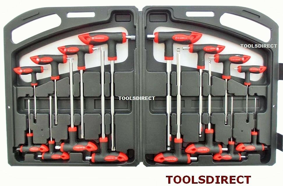 16pc t handle set torx hex ball end allen key trx star tx screwdriver set new ebay. Black Bedroom Furniture Sets. Home Design Ideas