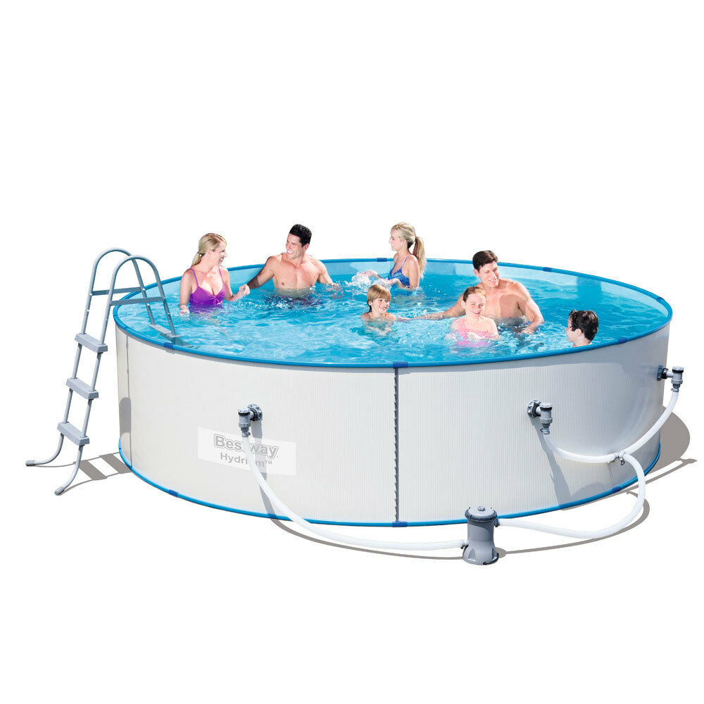 Bestway Steel Sidewall Above Ground Swimming Pool 12ft Hydrium Splasher Ebay