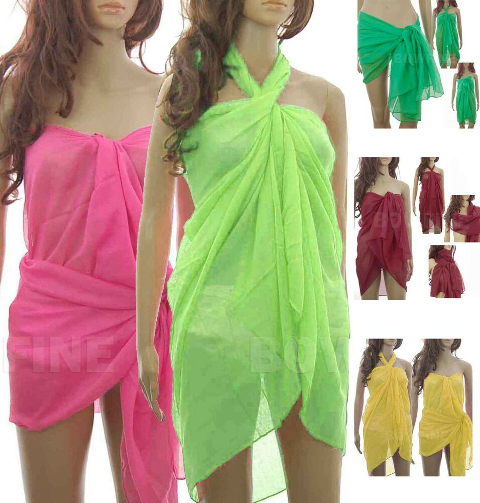 Large Neon Plain Sheer Sarong/Scarf/Beach Cover-Up/Wrap ...
