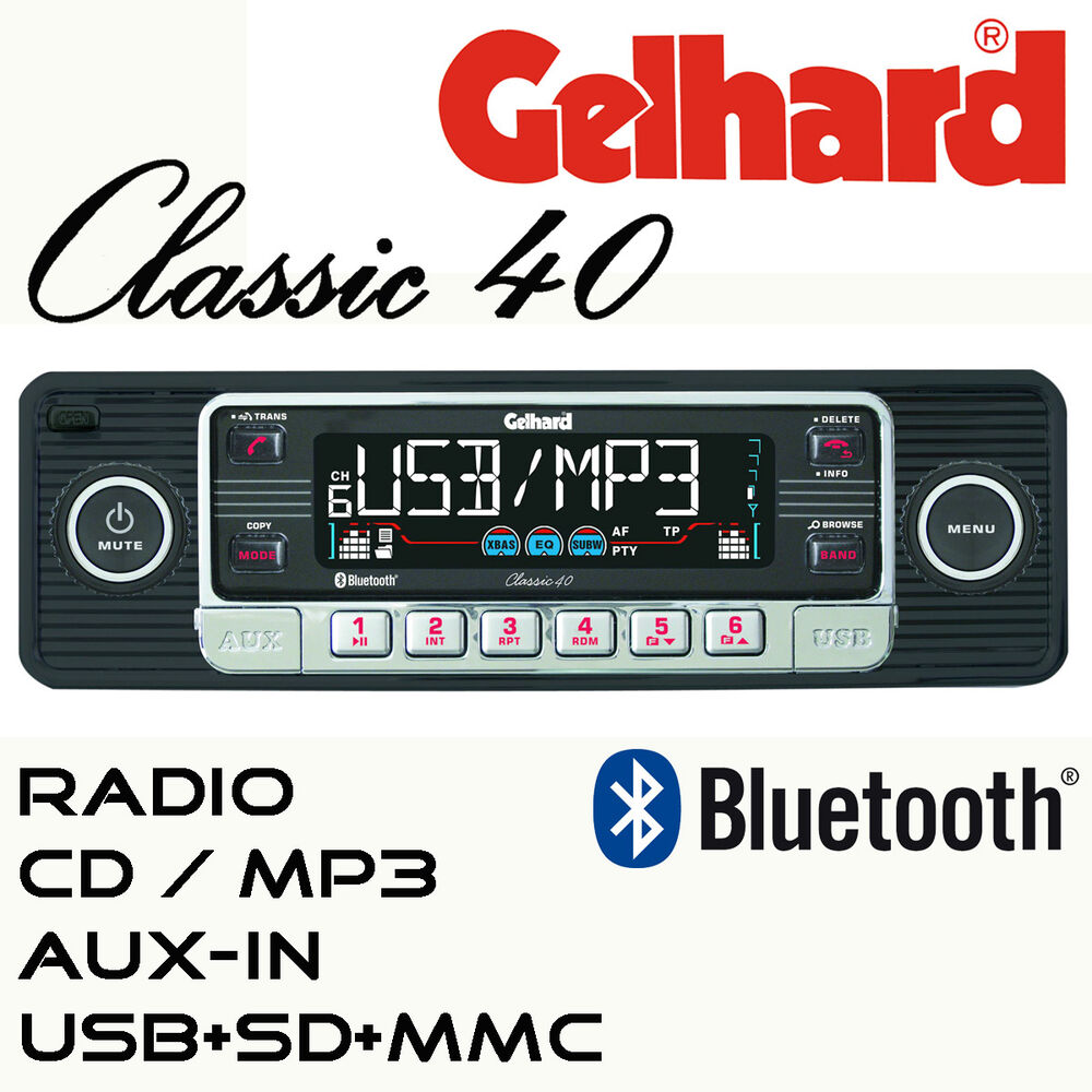 gelhard classic 40 schwarz rds autoradio cd mp3 usb sd. Black Bedroom Furniture Sets. Home Design Ideas
