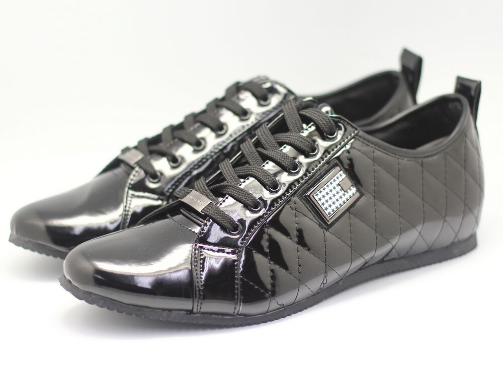 new mens designer leather patent shoe trainer style
