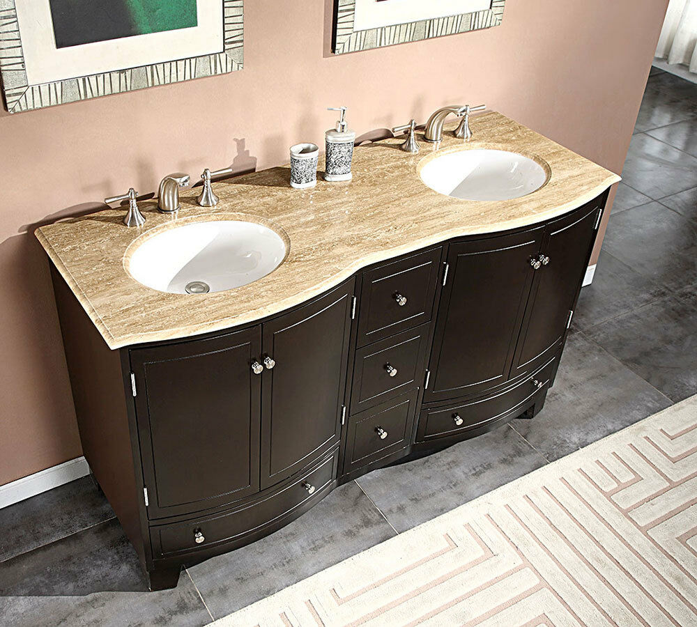 "60"" Travertine Top Double White Sink Bathroom Vanity Espresso Cabinet 703T"