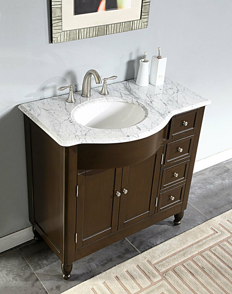 38\u0026quot; Furniture Bathroom Vanity White Marble Top Left Sink Cabinet 902WML  eBay