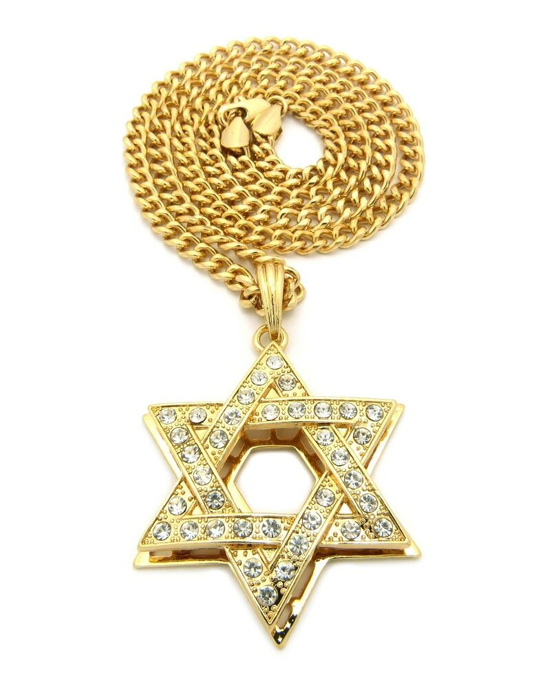 Gold jewish jew star of david israel charm pendant chain for Star of david necklace mens jewelry
