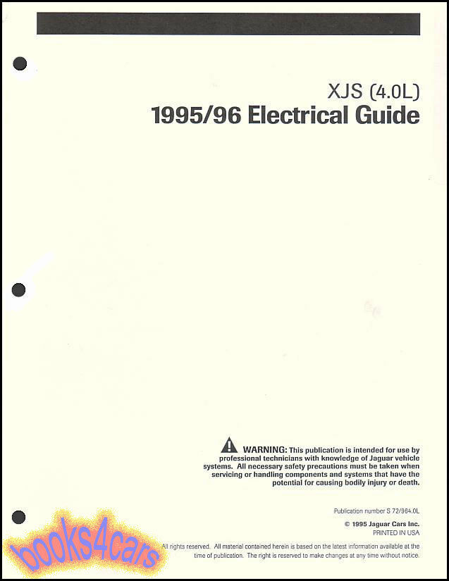95 96 Jaguar Xjs Shop Manual Electrical Guide Wiring