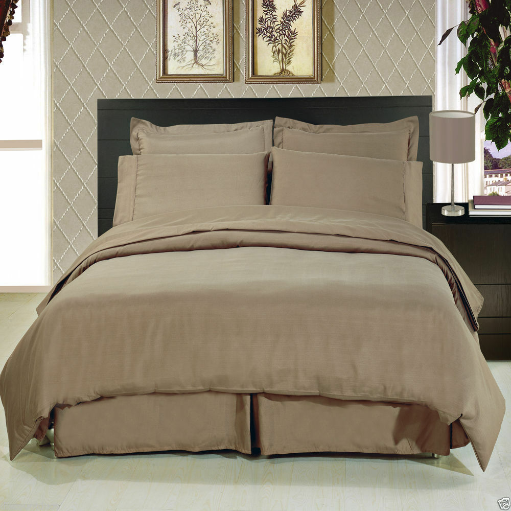 8pc Luxury Super Soft Taupe Bedding W Microfiber Sheets