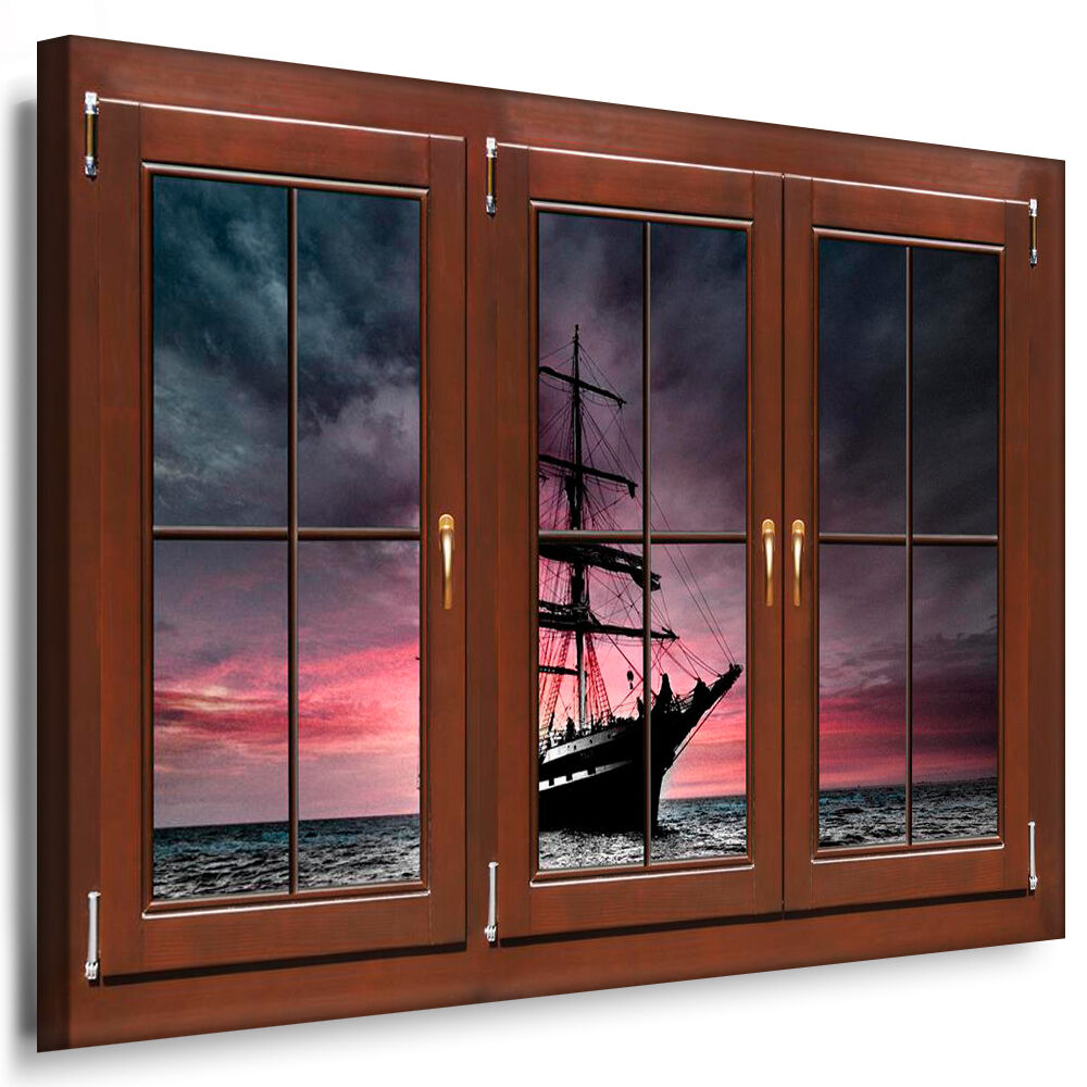 fenster als leinwand bild segelboot meer berge bilder leinwand keilrahmen n128 ebay. Black Bedroom Furniture Sets. Home Design Ideas