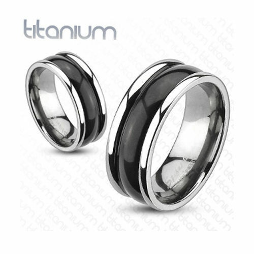 Solid Titanium Black and Silver Bubble Dome Wedding Band Engagement Men s
