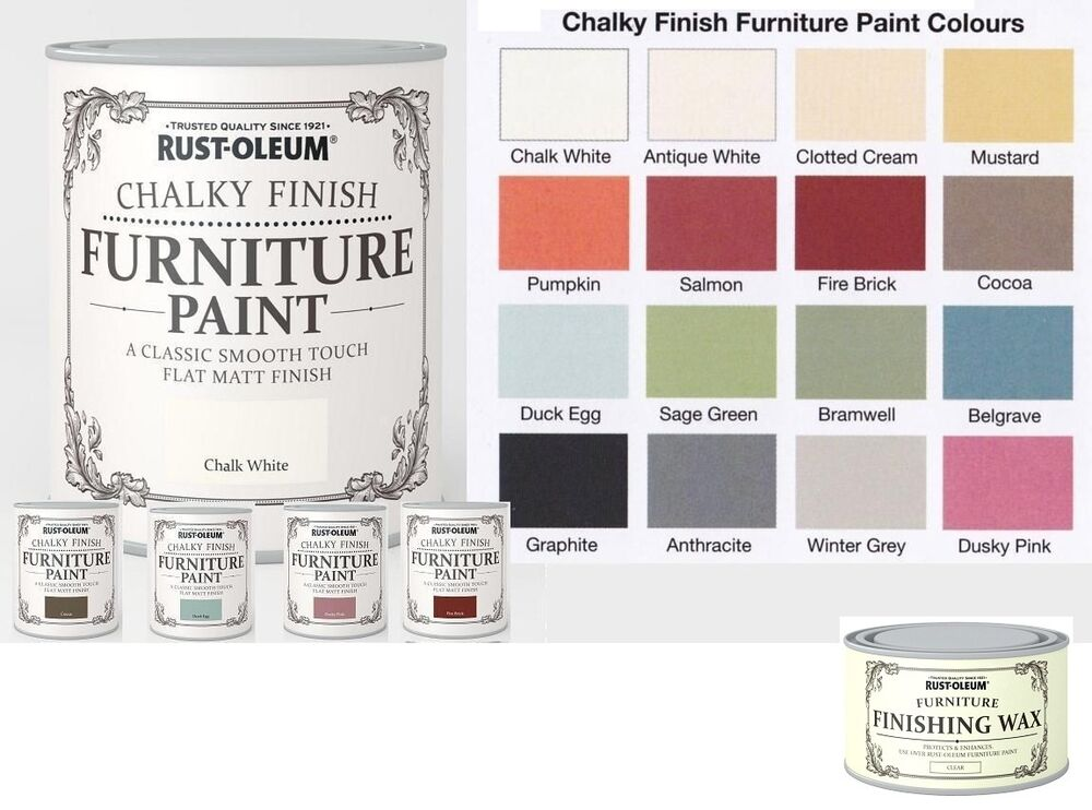 750ml Rust Oleum Chalky Furniture Paint Water Base Matt Wood With Or No Wax Ebay