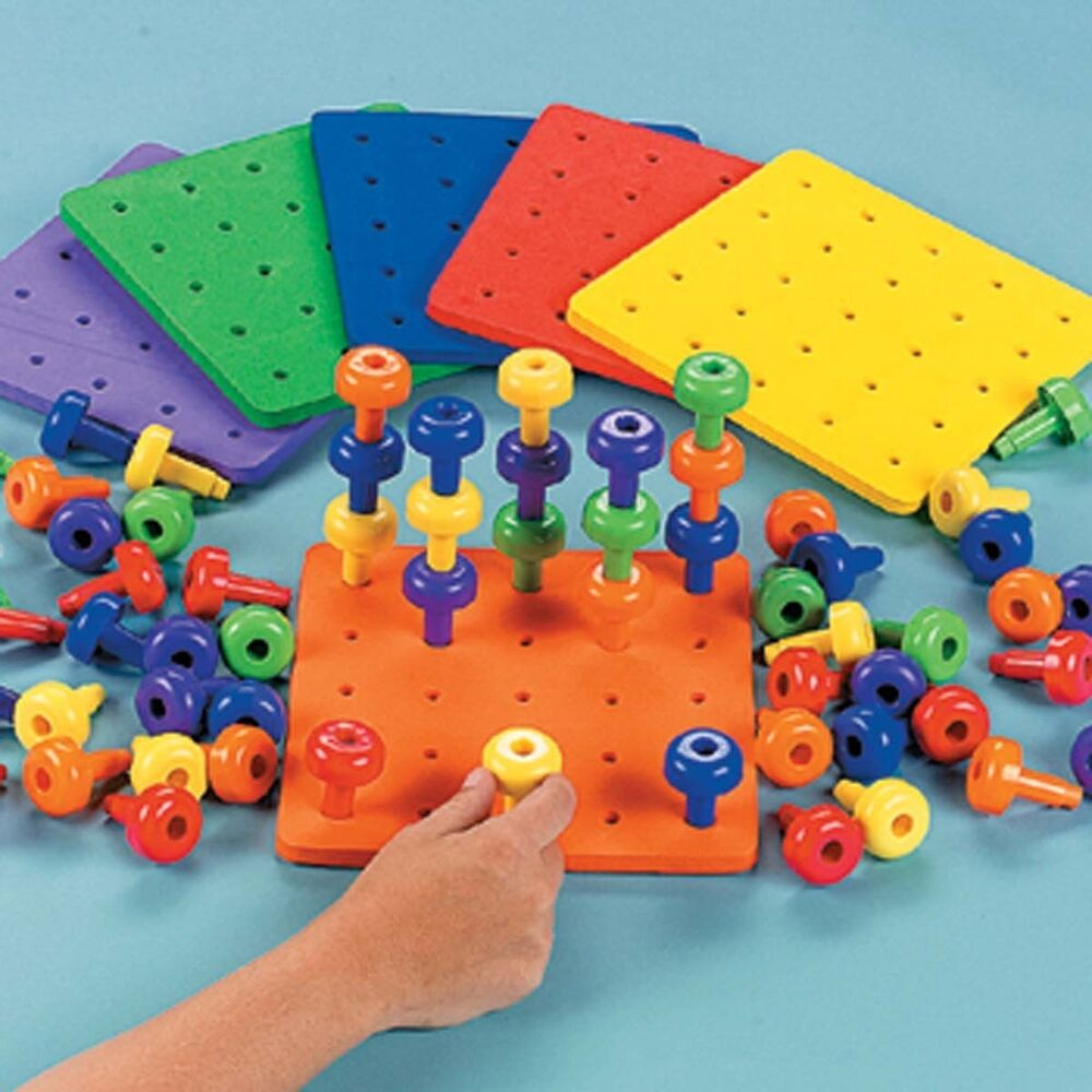 6 Sets Stack It Colorful Stacking Pegs Board Fine Motor