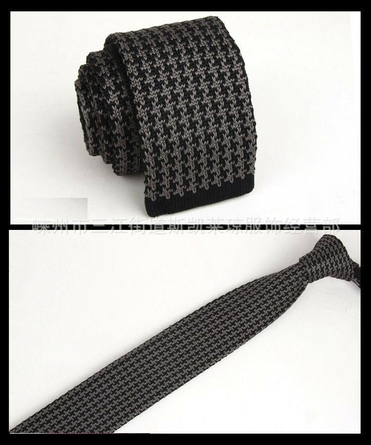 Knit Necktie Pattern : Mens Black Gray Pattern Tie Knit Knitted Necktie Narrow Skinny Woven ZZL...