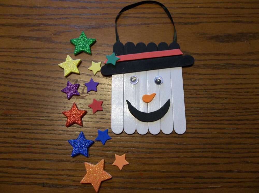 Homemade snowman door hanger wood foam craft kit make for Crafts that sell on ebay